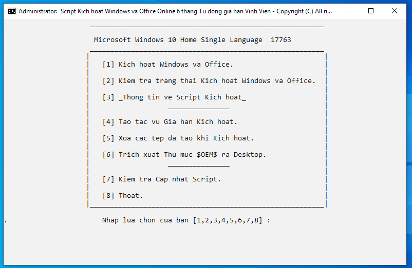 Crack Win 10 bằng CMD Activate AIO Tool 6